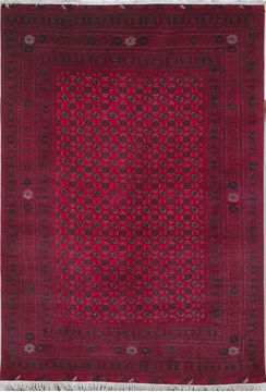 Afghan Bokhara Red Rectangle 6x9 ft Wool Carpet 109660