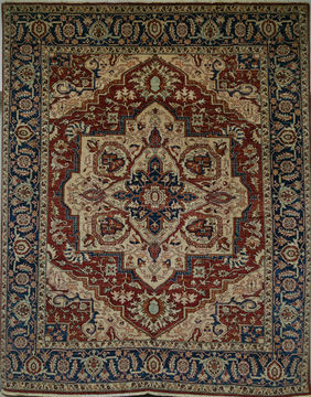 Pakistani Heriz Brown Rectangle 8x10 ft Wool Carpet 109666