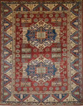 Pakistani Kazak Red Rectangle 7x9 ft Wool Carpet 109686