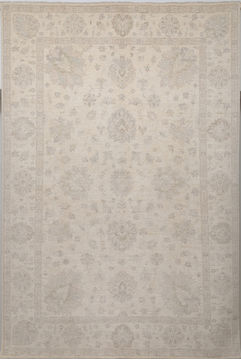 Pakistani Chobi White Rectangle 7x10 ft Wool Carpet 109696