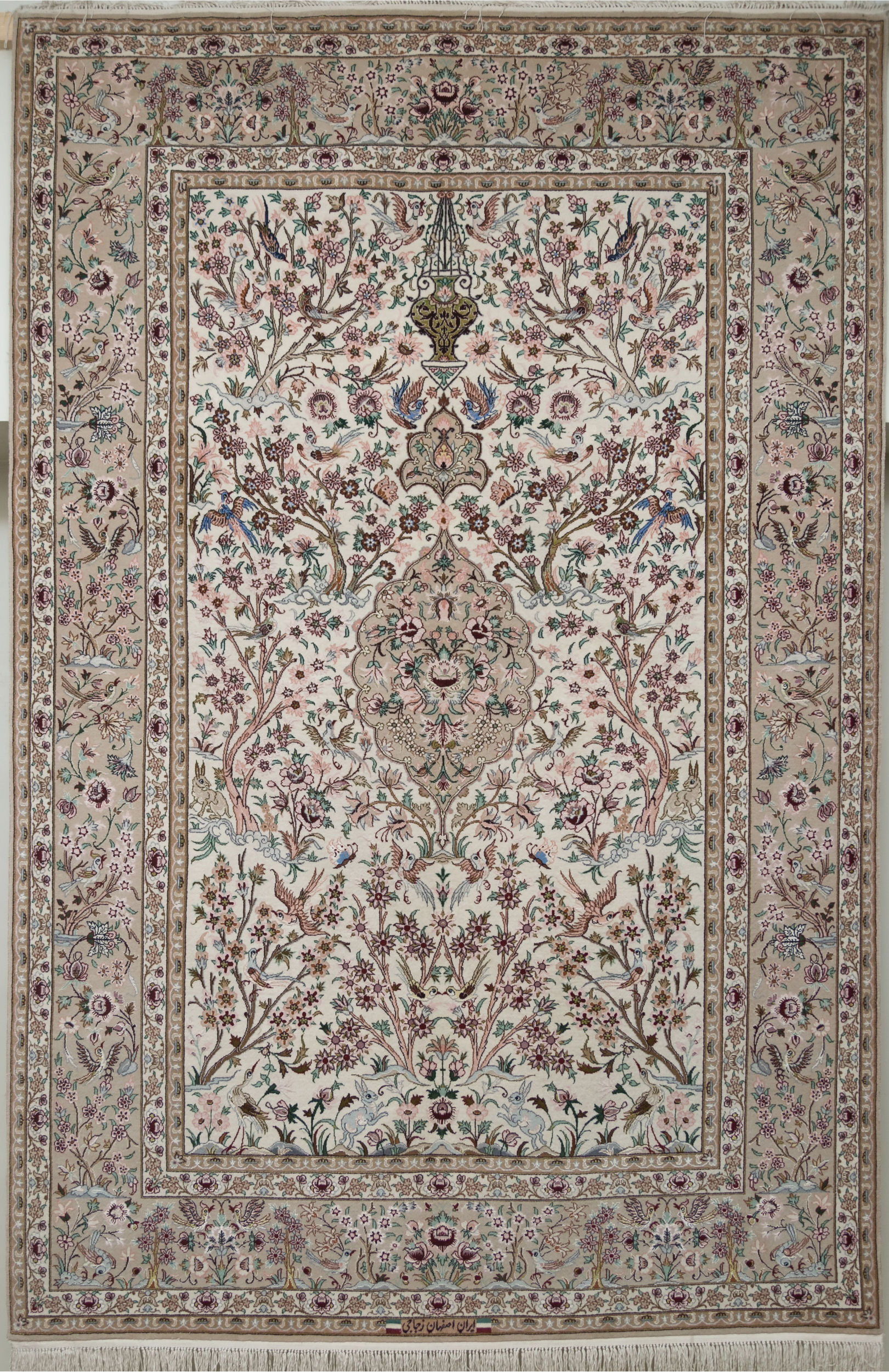Persian Isfahan White Rectangle 5x8 ft