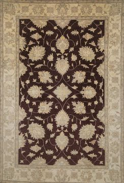 Pakistani Chobi Brown Rectangle 7x10 ft Wool Carpet 109731