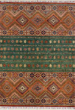 "Yalameh Green Hand Knotted 4'8"" X 6'5""  Area Rug 700-109742"