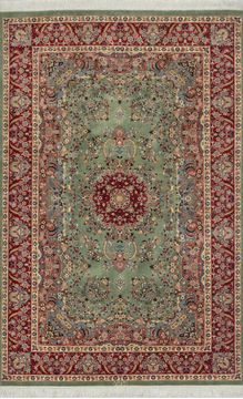 Pakistani Pak-Persian Green Rectangle 5x7 ft Wool Carpet 109787