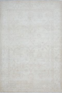 Pakistani Chobi Grey Rectangle 7x10 ft Wool Carpet 109797