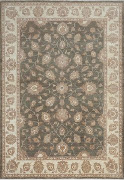Pakistani Chobi Green Rectangle 7x10 ft Wool Carpet 109798