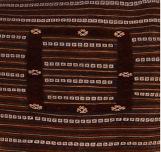 Afghan Kilim Brown Square 4 ft and Smaller Wool Carpet 109815