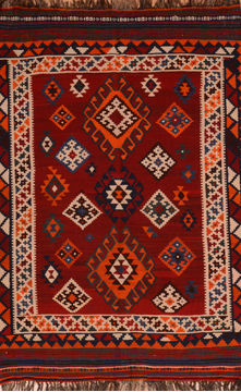 "Kilim Red Flat Woven 4'9"" X 6'11""  Area Rug 100-109827"