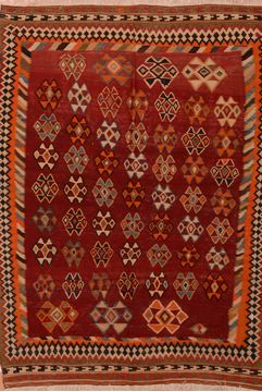 "Kilim Red Flat Woven 5'1"" X 7'6""  Area Rug 100-109835"