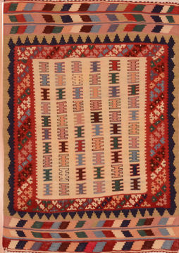 Afghan Kilim Red Rectangle 3x4 ft Wool Carpet 109838