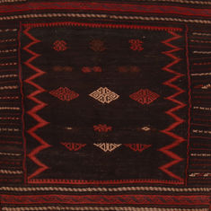 Afghan Kilim Red Square 4 ft and Smaller Wool Carpet 109840