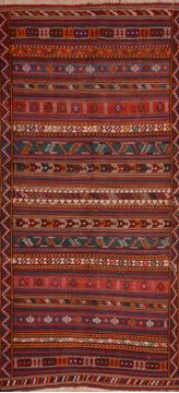 "Kilim Red Runner Flat Woven 5'5"" X 11'4""  Area Rug 100-109875"