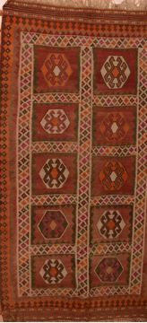 Afghan Kilim Red Runner 10 to 12 ft Wool Carpet 109894