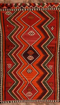 "Kilim Red Flat Woven 5'1"" X 8'6""  Area Rug 100-109902"