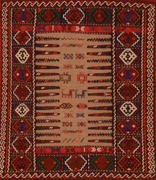 "Kilim Red Square Flat Woven 3'6"" X 4'4""  Area Rug 100-109924"