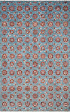 Pakistani Chobi Blue Rectangle 7x10 ft Wool Carpet 109932
