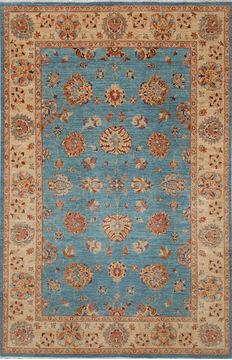 Pakistani Chobi Blue Rectangle 7x10 ft Wool Carpet 109934