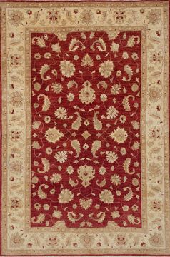 Pakistani Chobi Red Rectangle 6x9 ft Wool Carpet 109935