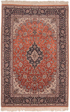 "Isfahan Red Hand Knotted 8'6"" X 12'0""  Area Rug 254-109954"