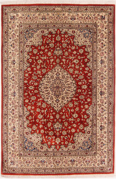 "Qom Red Hand Knotted 4'5"" X 6'8""  Area Rug 254-109956"