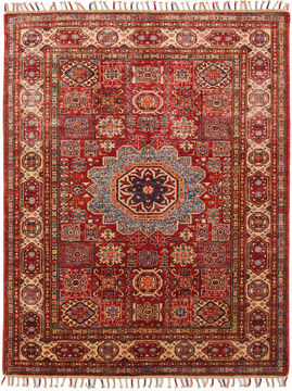 "Kazak Red Hand Knotted 5'0"" X 6'5""  Area Rug 254-109958"