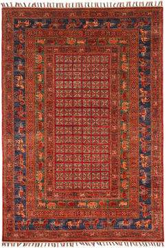 Pakistani Kazak Red Rectangle 6x9 ft Wool Carpet 109961