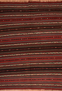 Afghan Kilim Red Rectangle 6x9 ft Wool Carpet 109987