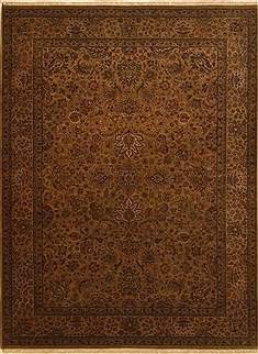 Indian Jaipur Brown Rectangle 9x12 ft Wool Carpet 11001