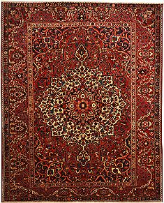Persian Bakhtiar Red Rectangle 10x12 ft Wool Carpet 11012