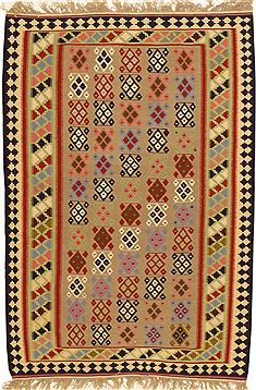 "Kilim Beige Hand Knotted 4'3"" X 6'3""  Area Rug 100-11034"