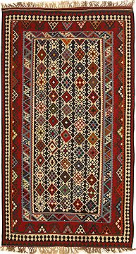 "Kilim Blue Hand Knotted 4'11"" X 9'2""  Area Rug 100-11035"