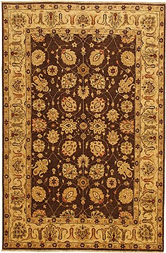 Pakistani Chobi Brown Rectangle 6x9 ft Wool Carpet 11044