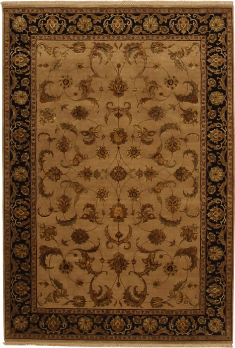 Indian Jaipur Beige Rectangle 7x10 Ft Wool Carpet 11062