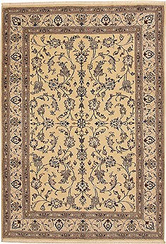 Persian Nain Beige Rectangle 7x10 ft Wool Carpet 11068