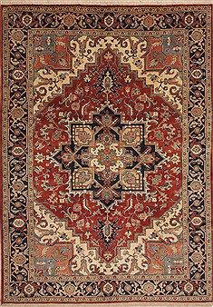 "Heriz Red Hand Knotted 6'11"" X 9'10""  Area Rug 100-11077"