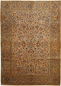 Persian Kashan Beige Rectangle 7x10 ft Wool Carpet 11079