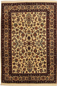 Persian Mashad Beige Rectangle 7x10 ft Wool Carpet 11087