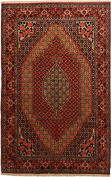 "Sanandaj Red Hand Knotted 6'6"" X 10'2""  Area Rug 100-11093"