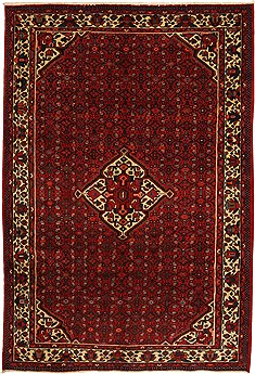 "Hossein Abad Red Hand Knotted 6'10"" X 9'11""  Area Rug 100-11103"