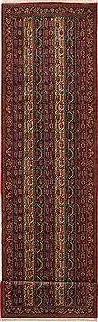 "Qum Red Runner Hand Knotted 3'1"" X 12'6""  Area Rug 100-11219"