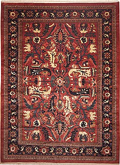 "Persian Moshk Abad  Wool Red Area Rug  (12'9"" x 17'2"") - 100 - 11245"