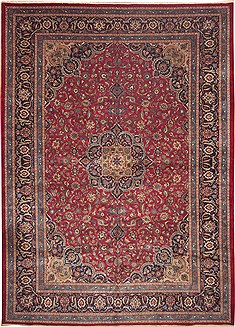 Persian Mashad Red Rectangle 12x15 ft Wool Carpet 11246