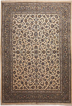 Persian Mashad Beige Rectangle 10x14 ft Wool Carpet 11257