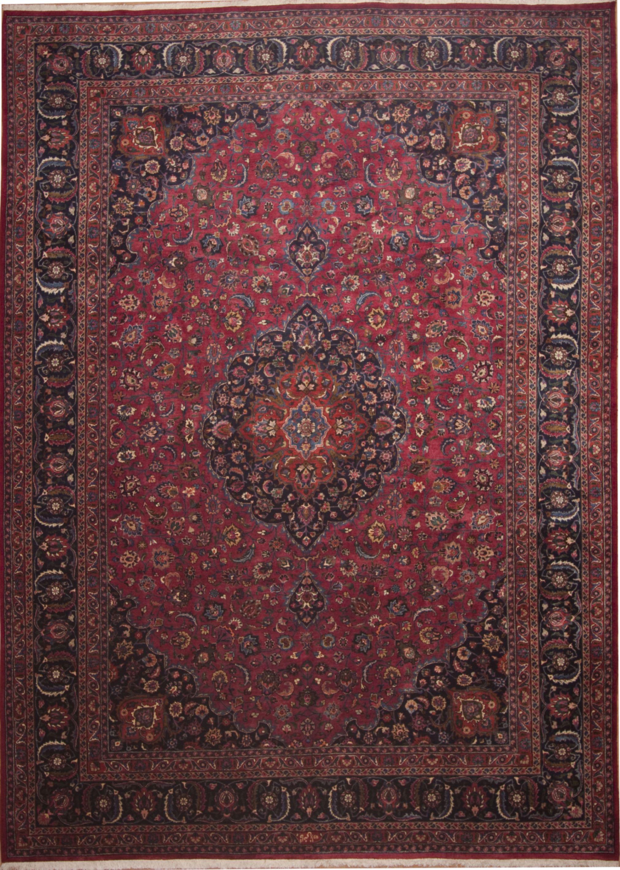 Persian Mashad Red Rectangle 11x16 Ft Wool Carpet 11258 Mashad