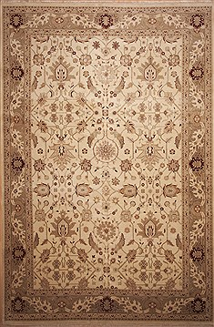 Indian Jaipur Beige Rectangle 12x18 ft Wool Carpet 11279
