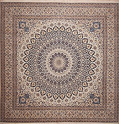 "Nain White Square Hand Knotted 13'3"" X 13'8""  Area Rug 100-11287"