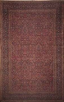 Persian Mashad Red Rectangle 12x18 ft Wool Carpet 11289