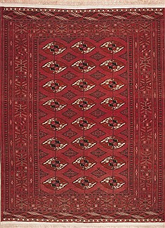 "Turkman Red Hand Knotted 4'9"" X 6'3""  Area Rug 100-11296"