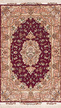 "Tabriz Purple Hand Knotted 3'4"" X 5'3""  Area Rug 100-11341"