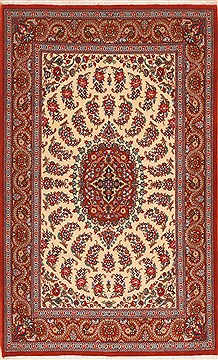"Qom Red Hand Knotted 3'6"" X 5'7""  Area Rug 100-11362"